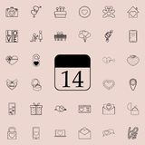 Calendar with 14th date icon. Detailed set of Valentine icons. Premium quality graphic design sign. One of the collection icons fo. R websites, web design Royalty Free Stock Photo