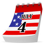 Calendar 4th july. Independence day, 4 July calendar icon on a white background, illustration Royalty Free Stock Photography