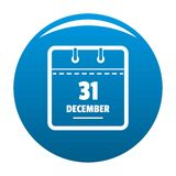 Calendar thirty first december icon blue vector. Calendar thirty first december icon vector blue circle isolated on white background Stock Photography