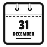 Calendar thirty first december icon, simple black style. Calendar thirty first december icon. Simple illustration of calendar thirty first december vector icon Royalty Free Stock Images