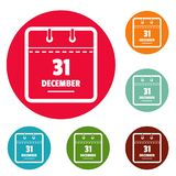 Calendar thirty first december icons circle set vector. Isolated on white background Stock Photos