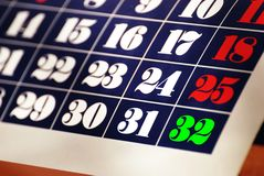Calendar with thirty two days Royalty Free Stock Photography