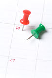 Calendar and Thumbtack Stock Image
