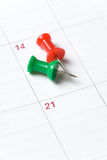 Calendar and Thumbtack Royalty Free Stock Photo