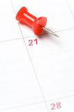 Calendar and Thumbtack Stock Photography