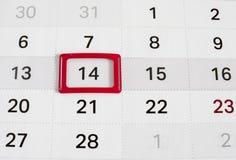 Calendar till valentindagen Fotografering för Bildbyråer