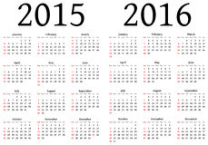 Calendar for 2015 and 2016 Royalty Free Stock Image