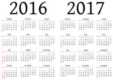 Calendar for 2016 and 2017 Royalty Free Stock Photo