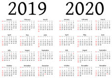 Calendar for 2019 and 2020 Royalty Free Stock Photos