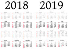 Calendar for 2018 and 2019 Stock Photos