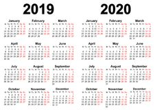 Calendar for 2019 and 2020 royalty free stock photography
