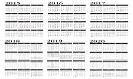 Calendar 2015 to 2020. Design of a new calendar 2015 to 2020 in english Royalty Free Stock Photography