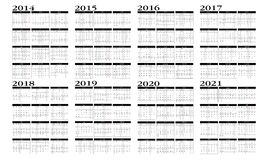 Calendar 2014 to 2021 Stock Image