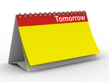 Calendar for tomorrow on white background. Isolated 3D image Royalty Free Stock Images