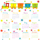 2017 Calendar with toy train and flowers. 2017 Calendar with toy cartoon train and flowers Vector Illustration