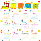 2016 Calendar with toy train and flowers. On white background stock illustration