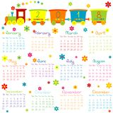 2018 Calendar with toy train and flowers. On white background Royalty Free Stock Photography