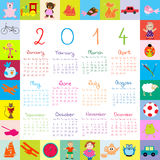 2014 Calendar with toys for kids. 2014 Calendar with toys and dolls for kids Stock Illustration