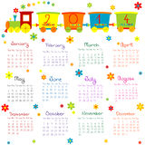2014 calendar with train for kids. 2014 calendar with train anf flowers for kids Stock Photography