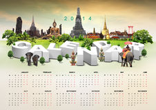 Calendar on travel background Stock Images