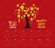 Calendar 2016 tree design for Chinese New Year celebration Stock Photos