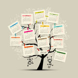 Calendar tree design 2016 with monkey symbol of. Year. Vector illustration Stock Images