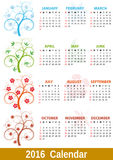 2016 calendar tree. Illustration of 2016 calendar, with colorful tree Royalty Free Stock Photo