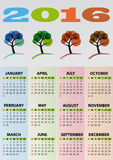 2016 calendar tree. Illustration of 2016 calendar, with colorful tree Stock Photos