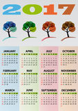 2017 calendar tree Royalty Free Stock Image