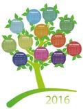 2016 calendar tree Royalty Free Stock Photos