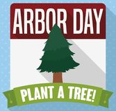 Calendar with Tree and Ribbon for Arbor Day Celebration, Vector Illustration. Flat design with long shadow and a calendar with pine to celebrate Arbor Day and a royalty free illustration