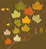 Calendar for 2016. Tree shape calendar for 2016 Royalty Free Stock Photo