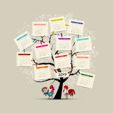 Calendar tree 2017 for your design Stock Photos