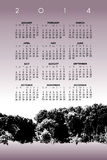 2014 calendar with trees. 2014 calendar with leafy trees in wood or forest stock illustration