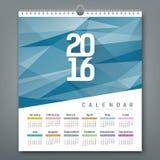 Calendar 2016 triangles geometric blue background Stock Photography