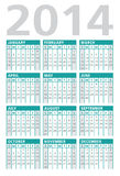 Calendar 2014 turquoise Royalty Free Stock Photos