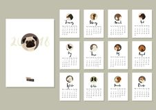 Calendar with twelve different dogs Cover with Pug Royalty Free Stock Photos