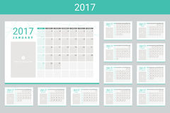 2017 calendar twelve month set. 2017 calendar with space for your pictures, twelve month set Stock Image