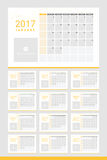 2017 calendar twelve month set. White and yellow theme Stock Photography