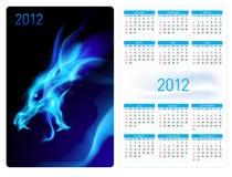 Calendar twenty twelve. Blue Dragon. Calendar twenty twelve template. Blue Dragon. Illustration for design Royalty Free Stock Photography