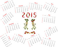 2015 Calendar. Two goats made of vegetables Royalty Free Stock Photography