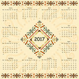 Calendar two thousand seventeenth year. Royalty Free Stock Photo