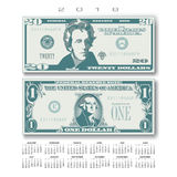 2018 Calendar with two US bills greatly simplified. And stylized Royalty Free Stock Images