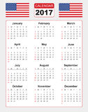 Calendar for 2017 with two vector image of american flag Stock Image