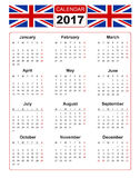 Calendar for 2017 with two vector image of united kindom flag. Calendar for 2017 on white background with two vector image of united kindom flag. Vector EPS10 Royalty Free Stock Photo
