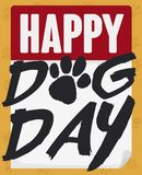 Calendar with Greeting in Brushstroke Style for Dog Day, Vector Illustration. Calendar with typography in brushstroke style and paw to celebrate Dog Day vector illustration