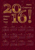 2016 calendar typography inscription in gold color. A3 format. Vector illustration Stock Images