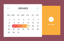 Calendar UI element. Calendar UI UX element. Calendar widget event. Vector illustration. Calendar daily template in flat style. Orange color Stock Photos