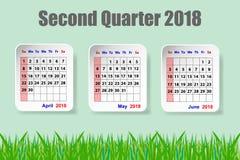Calendar um quarto do forsecond de 2018 anos com grama verde Fotos de Stock