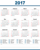 2017 Calendar United States White Background. 2017 Calendar United States With simple design and date information for celebrate or holiday Royalty Free Stock Photo